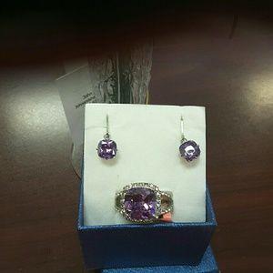 Jewelry - Stainless  Purple CZ Ring &  Purple Earrings BN